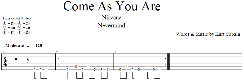 Nirvana - Come As You Are (Intro Riff)