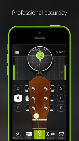 Programele gitaros derinimui - Guitar Tuna (iPhone)